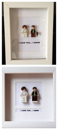 "DIY Star Wars Lego Minifigures Wall Art - no tutorial, but self explanatory. This is a BUY or DIY post for the Star Wars' fans in your life. For pages of Star Wars DIYs go here. Top Photo: DIY posted on Pinterest. Bottom Photo: BUY from Etsy Seller PrettyPeculiarUK: $61.30 Lego Minifigures. Princess Leia and Han Solo, ""I Love You… I Know"" More BUY Options $45.98 Lego Minifigure Wall Art from Etsy Seller PrettyPeculiarUK. Luke Skywalker, ""May the Force Be With You"" $84.29 Lego Minifigure…"