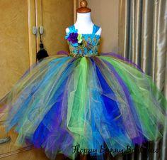 Peacock Fairy Tutu Dress: Flower Girl Jr by FloppyBunnyBoutique