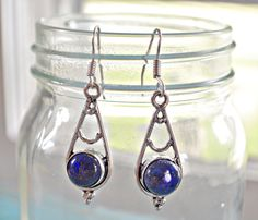 Your place to buy and sell all things handmade Lapis Lazuli Earrings, Gemstone Earrings, Sterling Silver Earrings, Dangle Earrings, Lapis Lazuli Healing, Wire Wrapped Earrings, Blue Gemstones, Indigo Blue, Silver Color