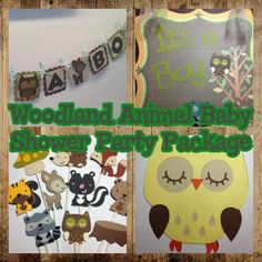 Woodland Animal Themed- Baby shower PACKAGE,Woodland Birthday Banner, Woodland Name Banner,Woodland Favor Toppers, Woodland Cupcake Toppers. $89.00, via Etsy.