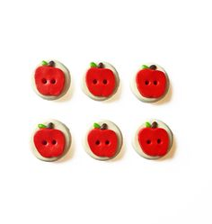 Handmade Apple buttons on Etsy https://www.etsy.com/listing/294257425/apple-buttons-polymer-clay-buttons-food