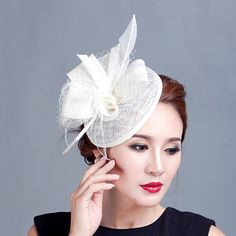 Ivory fascinator hat  with feather 32280736490 ALIFASCR/002