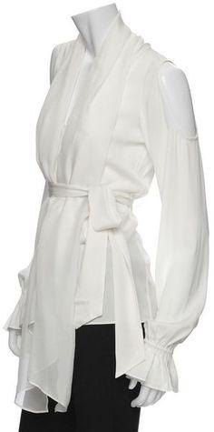 rachel zoe white blouse shoulder cut outs | Rachel Zoe Cut Out Shoulder Blouse in White (off-white) - Lyst