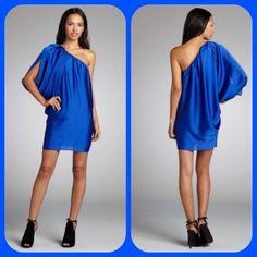 Aidan Mattox Royal Blue One Shoulder Dress