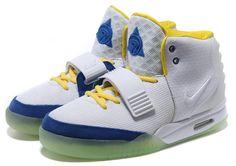 c20b30075e9 Nike Air Yeezy 2 2 White Blue Yellow Nike0236 Runway Fashion