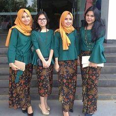 Model Kebaya hijab modern terbaru rok batik panjang