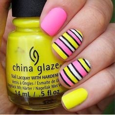 Beautiful nails 2016, Beautiful summer nails, Bright summer nails, Fashion nails 2016, Manicure by summer dress, Manicure by yellow dress, Nail art stripes, Pink dress nails