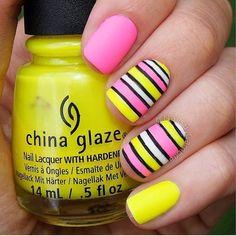 Beautiful nails 2016, Beautiful summer nails, Bright summer nails, Fashion nails 2016, Manicure by summer dress, Manicure by yellow dress, Nail art stripes, Pink dress nails
