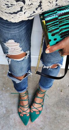Ripped jeans & lace up flats: