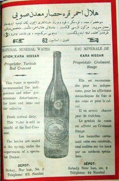Natural Mineral Water. Afion Kara Hissar. Turkish Red Crescent ~ Eau minérale de Kara Hissar. Croissant-Rouge. Depot/Dépôt Stambul/Istamboul. #Istanbul