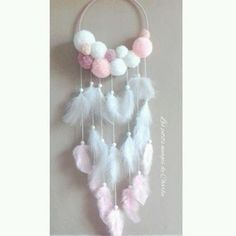 DIY dream catcher w/yarn pom poms Diy And Crafts, Crafts For Kids, Arts And Crafts, Easy Crafts, Diy Y Manualidades, Pom Pom Crafts, Diy Room Decor, Bohemian Room Decor, Wall Decor