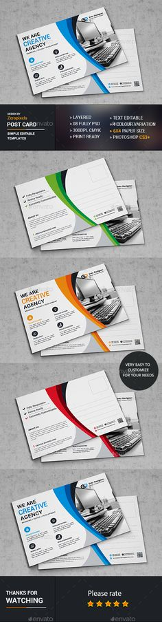 Buy Post Card by zeropixels on GraphicRiver. Features: Easy Customizable and Editable Post Card in with bleed CMYK Color Design in 300 DPI Resolution Print Re. Postcard Template, Postcard Design, Unique Business Cards, Business Card Design, Direct Mail Design, Stationary Branding, Page Layout Design, Letterpress Business Cards, Design Inspiration