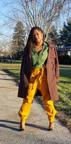 Green Silk and Gold Corduroy… – Nzuri N* Simplicity Green Silk, Green And Gold, Two Toned Heels, Green Blouse, Skinny Pants, Corduroy, Two By Two, Overalls, That Look