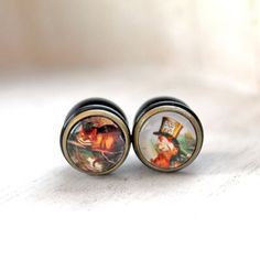 """Alice in wonderland plugs 12mm 1/2"""" mad hatter cheshire cat gauges tunnel stretched lobes"""