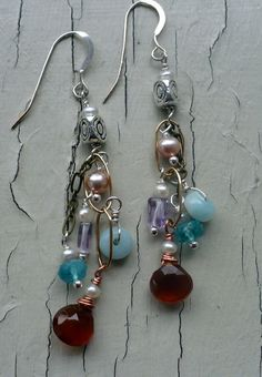 multigemstone+dangle+earrings+by+jillktuftdesigns+on+Etsy,+$40.00