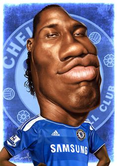 Didier Drogba by Benny Cartoon People, Cartoon Faces, Funny Faces, Cartoon Drawings, Cartoon Characters, Caricature Artist, Caricature Drawing, Funny Caricatures, Celebrity Caricatures