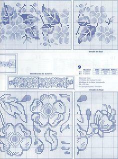 "Photo from album ""punto de cruz on Yandex. Cross Stitch Borders, Cross Stitch Flowers, Cross Stitch Designs, Cross Stitching, Cross Stitch Embroidery, Cross Stitch Patterns, Filet Crochet Charts, Knitting Charts, Crochet Curtains"