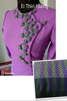Myanmar Traditional Dress, Traditional Dresses, Myanmar Dress Design, Formal Tops, Dress Form, Hijab Fashion, Blouse Designs, Designer Dresses, Ribbon Flower