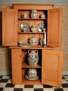 Artisan George Hoffman's Cabinet filled with Jane Graber Stoneware Signed 1980 Miniature Rooms, Miniature Kitchen, Miniature Furniture, Dollhouse Furniture, Dollhouse Dolls, Dollhouse Miniatures, Mini Kitchen, Country Kitchens, Miniture Things