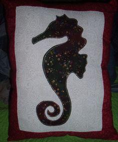 Seahorse Applique' Decor Pillow made by WonderlandShoppe 2014 by WonderlandShoppe on Etsy