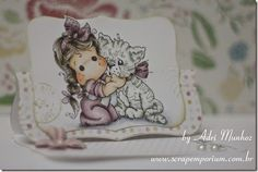 Eseal card com carimbo Magnolia colorido com Copic Markers