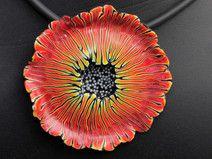 Zauber- Blüten Halskette, Kunst aus Polymer clay flower pendant