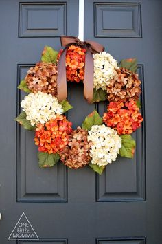 Use fall hydrangeas to create elegant and sophisticated DIY Fall Wreath. Add this welcoming touch to your entryway for a warming addition of colorful décor on your front door.
