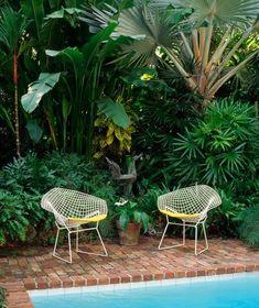Bertoia chairs in lush tropical yard.