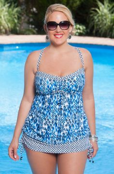 The Always For Me Chic Prints Marilia 2 Pc swimsuit with skirt #84261 is a batik inspired plus size skirtini. The shades of indigo and twin print details are bound to satisfy even the most discerning