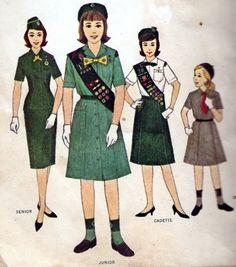 1960's Girl Scout Uniforms | Love the gloves :)