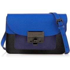 Marc By Marc Jacobs Lip Lock Messenger Bag ($450) ❤ liked on Polyvore featuring bags, messenger bags, blue, flap bag, locking courier bag, blue gift bags, leather bags und shoulder bags