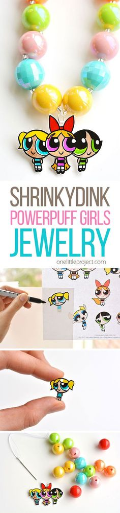 This Shrinky Dinks Powerpuff Girls jewelry is SO EASY to make and it looks completely adorable! Such a simple and awesome craft to do with the kids! #sponsored