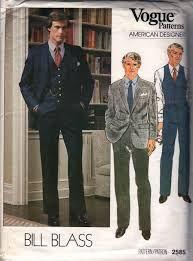 a04d921659 Vogue 2585 Bill Blass Mens Designer 3 piece suit jacket pants vest vintage  sewing pattern by mbchills