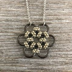 Silver & Gunmetal Beaded Necklace Honeycomb Necklace Seed