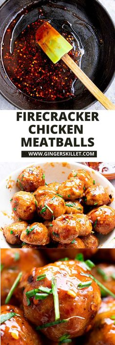Spicy Chicken Meatballs aka Firecracker meatballs recipe with step-by-step instructions. These spicy and sweet twice-baked chicken meatballs are super easy to make and tastes delicious as an appetizer or in a meal! Baked Chicken Meatballs, Chicken Meatball Recipes, Firecracker Meatballs, Lunch Recipes, Appetizer Recipes, High Protein Recipes, Healthy Recipes, Super Easy, Meal Prep