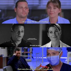 Grey's Anatomy Meredith and Alex Ellen Pompeo and Justin Chambers