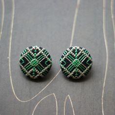 Art Deco geometric cross stitch earrings emerald by TheWerkShoppe, $36.00