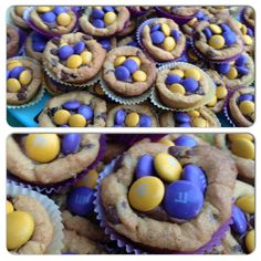 Husky tailgating peanut butter cookie filled with snickers and purple/gold m&ms
