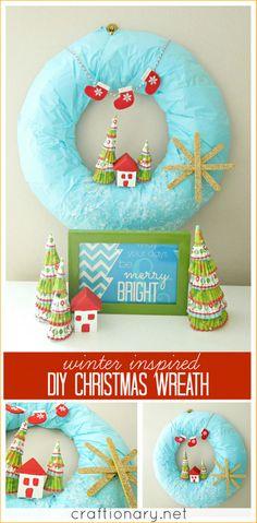 Cute DIY winter wreath #Christmas #winter #wreath