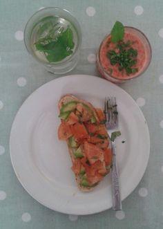 Vegan brunch.Super fruit smoothie. Avocado & tomato mash. Rosemary & mint tea. Ital food