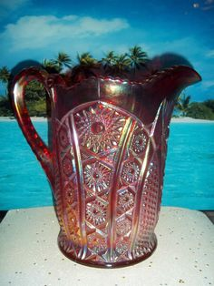 """VINTAGE INDIANA HEIRLOOM PATTERN ; AMBERINA CARNIVAL GLASS OCTAGON PITCHER 8"""" #INDIANAGLASS"""