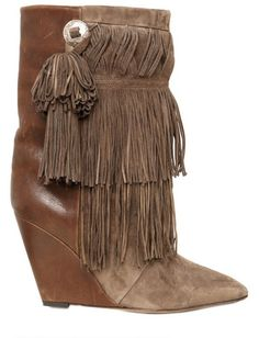 90mm Jacob Fringed Suede Wedge Boots - Lyst