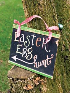 Easter themed party ideas!  Made this with the kids using chalkboard paint and pens.  Too cute!  Love it!