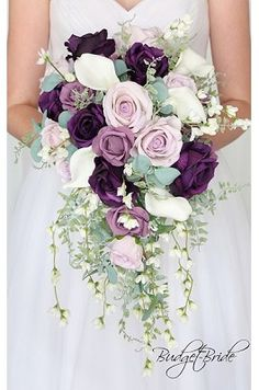 Dusty rose and plum wedding flowers for the cascading bridal bouquet with real touch white calla lilies and white cherry blossoms Plum Wedding Flowers, Purple Wedding Bouquets, Cherry Blossom Wedding, Bride Bouquets, Bridal Flowers, Flower Bouquet Wedding, Floral Wedding, Cherry Blossoms, Plum Wedding Decor