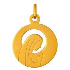 Médaille de baptême en or, médaille Vierge ajourée