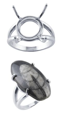 Sterling silver free-form ring mountings