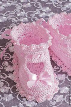 Для новорожденных, ручной работы. Ярмарка Мастеров - ручная работа. Купить Пинетки для новорожденного. Handmade. Розовый, пинетки для крещения ♡
