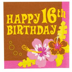 """Aloha 16 Birthday Lunch Napkins - Includes 16 paper napkins that measure 6 1/2"""" x 6 1/2""""."""
