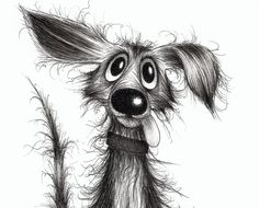Best Ideas For Dogs Cartoon Illustration Funny Cartoon Dog Drawing, Puppy Drawing, Animal Drawings, Art Drawings, Black And White Cartoon, Black White, Art Mignon, Art Et Illustration, Inspiration Art