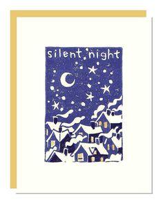 Handmade Holiday Card Silent Night LInocut by noraalice on Etsy, $5.00